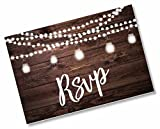 50 RSVP Rustic - Wood and Lights - Postcards