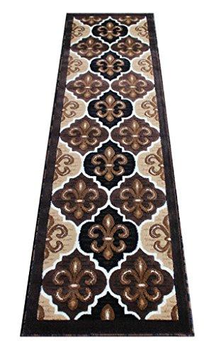 CR Modern Fleur De Lis New Orleans Runner Area Rug Brown Chocolate (2 Feet x 7 -