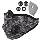 Activated Carbon Dustproof Dust Mask - with Extra Filter Cotton Sheet and Valves for Exhaust Gas, Anti Pollen Allergy, PM2.5, Running, Cycling, Outdoor Activities (1 Pack Gray, Type 1)