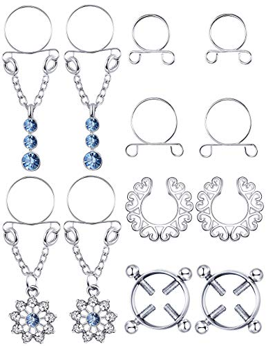 Jstyle 4Pairs 316L Stainless Steel Fake Nipplerings for Women Non-Piercing Dangle Nipplerings Screw Clip On Nipple Rings Jewelry Adjustable