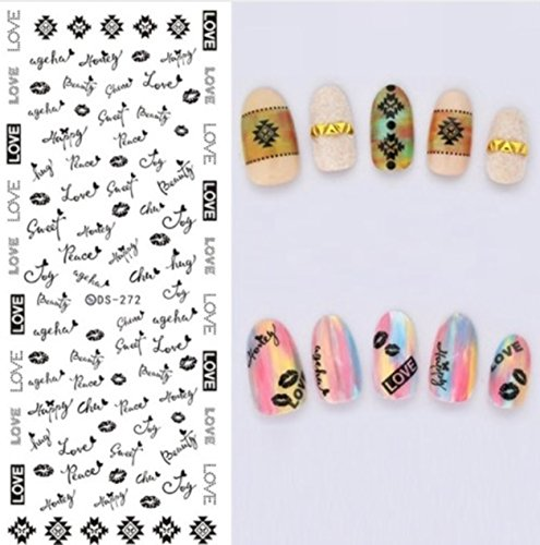 1 Set Black Strings Drawing Nail Art Stickers Fingernails Watermark Water Transfer Nails Wrap Paint Tattoos Stamper Plates Templates Tools Tips Kits Beauty Popular Stick Tool Vinyl Decals Kit, Type-12 -