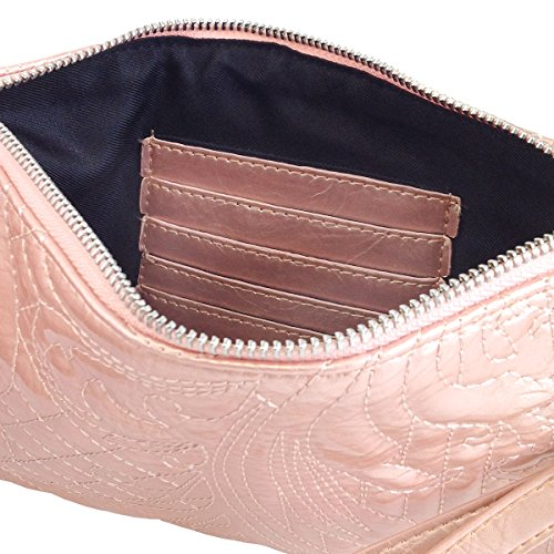 Peach Wristlet Sleeves Embroidered Leather with Patent Card cOaOUqSH