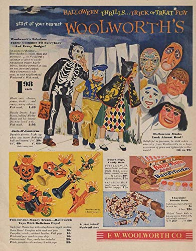 Trick or Treat Fun - Woolworth's Halloween costumes candy toys ad 1954 Lk]()