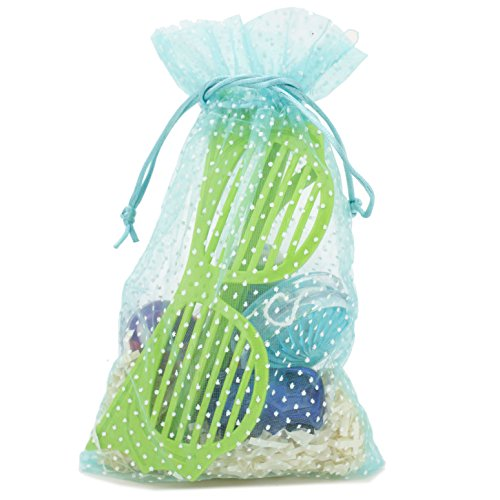 Cute Polka Dot Party Favor Gift Bags Organza Fabric Drawstring Bags (Blue Polka Dot, Small - 9 x 6)