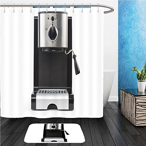 Beshowereb Bath Suit: ShowerCurtian & Doormat coffee maker on a white background isolated_68611540 (Ivory Coffee Maker)