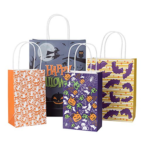 Loveinside Happy Halloween Gift Bags -Halloween Element Design Goody Bags Set-Party Favors& Holiday Trick-or-Treat Tote Bag-12 Pack-4 Design