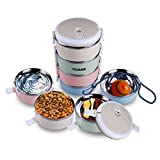 Travel Lunch Box, Leakproof Travel Bowl Portable 304 Stainless Steel Multiple Layers Water Food Storage Container with Invisible Handle for Outdoor Traveling(4 Layer) (4 Layer Bowl)