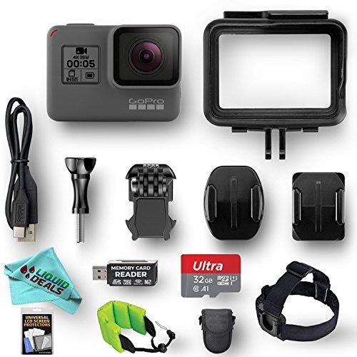 GoPro HERO5 Black ESSENTIAL VALUE bundle w/ 32GB Memory Card, Card Reader, Screen Protectors, Head Strap, Liquid Deals Exclusive Camera Cleaning Cloth by Liquid Deals