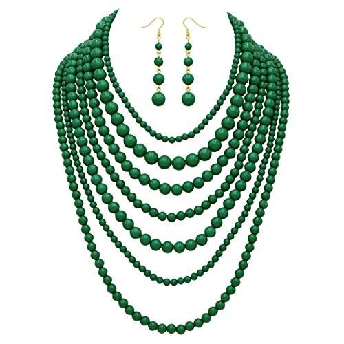 (Rosemarie Collections Women's Fashion Jewelry Set Beaded Multi Strand Bib Necklace (Green))