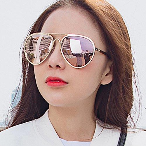 Marée Style Color Polarisées Soleil Lunettes Ronde Grenouille de de Coréen Soleil Lunettes Pink YaNanHome Nouveau de Gold Lunettes Lunetterie Style Soleil Lunettes Femmes Lunettes de XA4nUBO