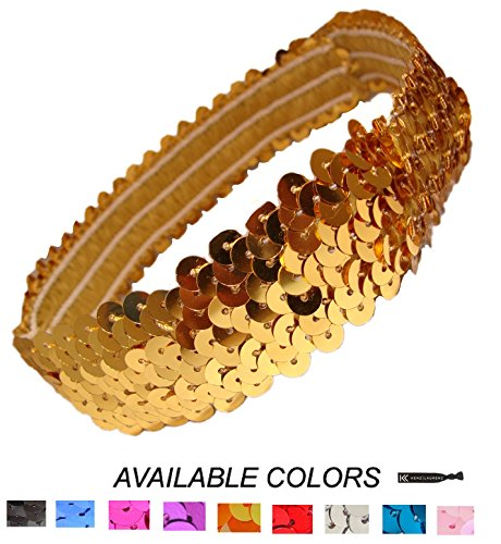 Kenz Laurenz Sequin Headbands Elastic Stretchy Headband for Girls Kids Women Flapper Roaring 20s Great Gatsby 1920s Hair Band Cute Princess Head Bands (Gold)