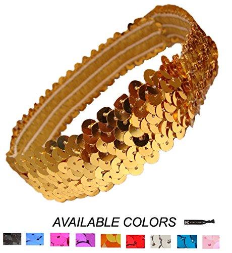Kenz Laurenz Sequin Headbands Elastic Stretchy Headband for Girls Kids Women Flapper Roaring 20s Great Gatsby 1920s Hair Band Cute Princess Head Bands (Gold)