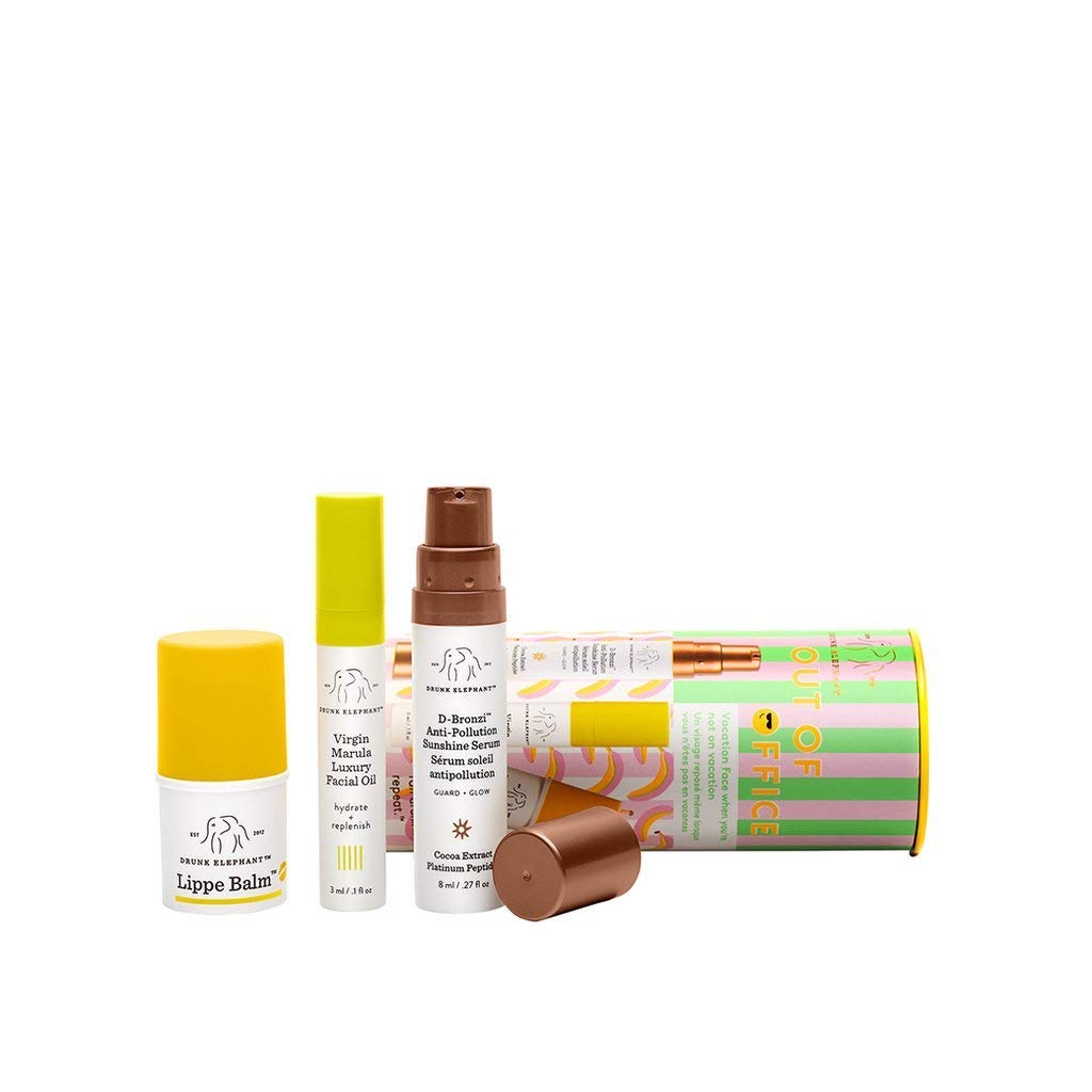 Drunk Elephant Out of Office Daytime Skin Care Set with D-Bronzi Anti-pollution Sunshine Drops, 8 Milliliters, Virgin Marula Luxury Facial Oil, 3 Milliliters, and Lippe Balm, 3.8 Grams