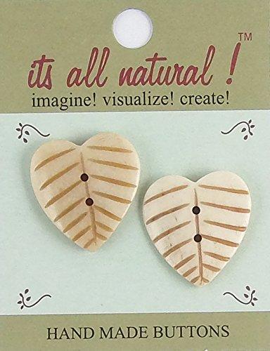 e Buttons - Antique Ivory - 20x50mm - Heart Shape Leaves - 2 pcs/pk. #1937 ()