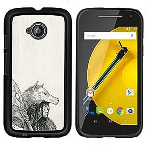 """For Motorola Moto E2 / E 2nd gen Case , Nativo indio Lobo Mujer Lanza Arte Dibujo"""" - Diseño Patrón Teléfono Caso Cubierta Case Bumper Duro Protección Case Cover Funda"""