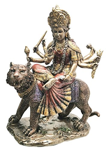 Ebros Hindu Goddess Devi Invincible Durga The Mahashakti Riding On Tiger Statue Eastern Enlightenment Hinduism Altar Sculpture ()