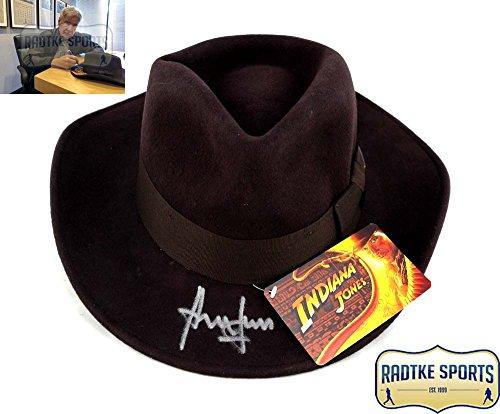 Harrison Ford Autographed/Signed Indiana Jones Officially Licensed Brown Wool Felt Fedora (Licensed Felt)