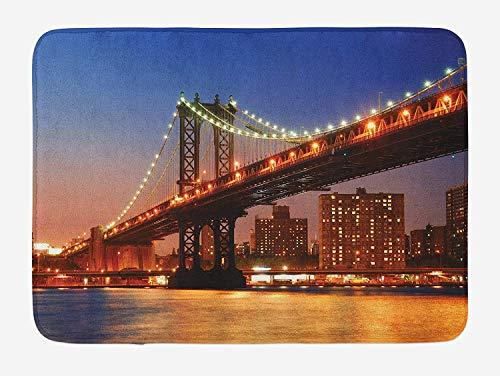 Weeosazg New York Bath Mat, Manhattan Bridge with Cityscape Over Hudson River Brooklyn Popular Town Image, Plush Bathroom Decor Mat with Non Slip Backing, 23.6 W X 15.7 W Inches, Blue Orange]()