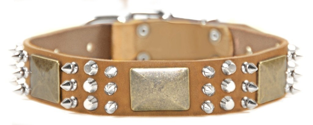 Dean and Tyler  CRAZY COMBO  Dog Collar With Nickel Hardware Tan Size 16  by 1 1 2  Width Fits Neck Size 14-Inches to 18-Inches.
