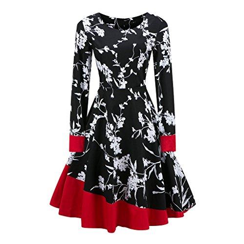 Vintage 1950 vestidos Otoño Vestido de manga larga mujer una línea Patchwork Retro Swing Rockabilly femenino vestido de fiesta vestido vestidos TQ000061