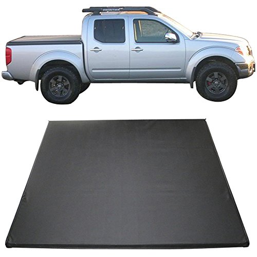 Tonneau Cover Fits 2005-2016 Nissan Frontier | 5 Feet Short Bed Tri-Fold Soft Black Cargo Cover by IKON MOTORSPORTS | 2006 2007 2008 2009 2010 2011 2012 2013 2014 2015 - Nissan Frontier Soft Tonneau Cover