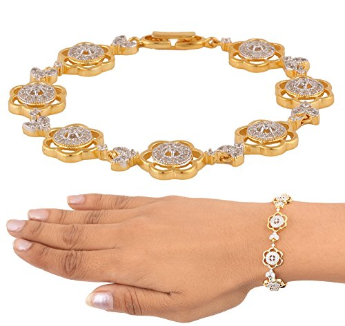 [Swasti Jewels American Diamond CZ Fashion Jewelry Traditional Ethnic Bracelet Kada for Women] (Best College Halloween Outfits)