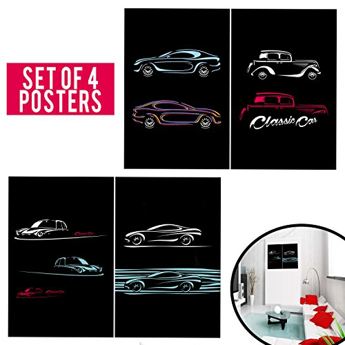 The Classy Entrepreneur - Set of 4 Cars Posters - Cool Wall Art for Men - Perfect for Garage, Home Bar, Arcade, or as Corporate Present.