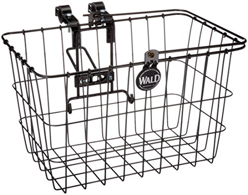 Wald 3133 Front Quick Release Bicycle Basket with Bolt on Clamp (14.5 x 9.5 x 9, Black) (Mounted Wicker Rear Basket Bike)