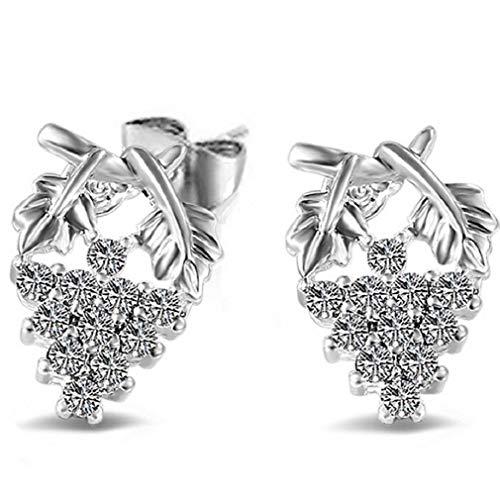 ICHQ 1 Pair Earrings for Womens Girls Earring Fashion Elegant Cute Crystal Diamond Grapes Glittering Stud Earrings Gift (Silver)