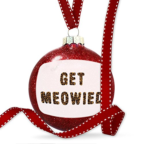 Christmas Decoration Get Meowied Cheetah Cat Animal Print Ornament by NEONBLOND