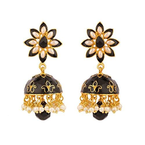 Rajwada Arts Women's Brass Enamel Jhumki Earrings Black,White