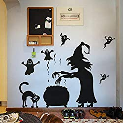 FimKaul 3D Halloween Wall Sticker Decals Witch Spooky Cat Removable DIY Decoration Love for Baby Kids Nursery Room Kitchen (A)