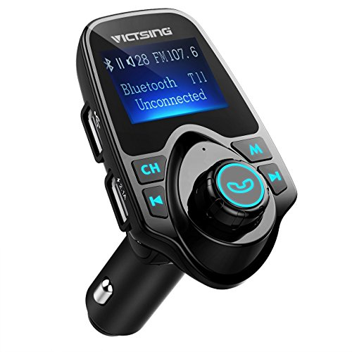 VicTsing Bluetooth FM Transmitter Radio Car Kit Adapter With 1.44 Inch Display 5V 2.1A USB Car Charger Support Micro SD Card and USB Flash Drive-Black