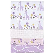 Carter's 4 Pack Wrap Me Up Receiving Blanket, Purple Giraffe Safari (Discontinued by Manufacturer)