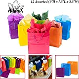 """Adorox 12 Assorted (9""""H x 7.5""""L x 3.5""""W) Bright Neon Colored Party Present Paper Gift Bags Birthday Wedding All Occasion"""