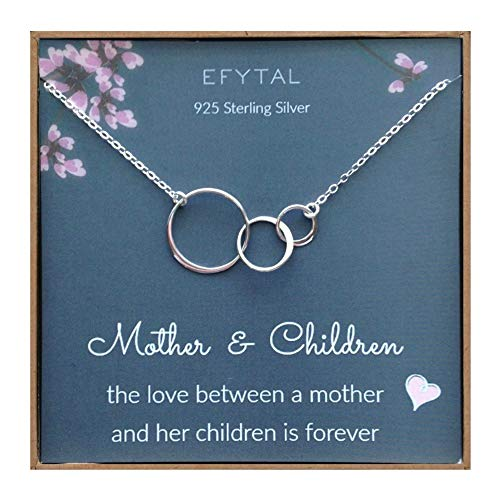 EFYTAL Mom 2 Children Necklace, Sterling Silver Three 3 Interlocking Infinity Circles, Mothers Day Jewelry Gift (Circle Mom Necklace)