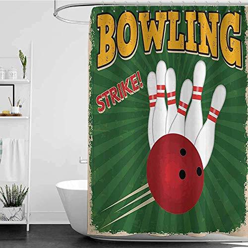 YGUII Shower Curtains Black White Vintage Decor,Bowling Balls and Pins Design Western Sport Hobby Leisure Winner Artsy Art Print,Multi 72 x 72 Inch(180x180cm,Shower Curtain for Men