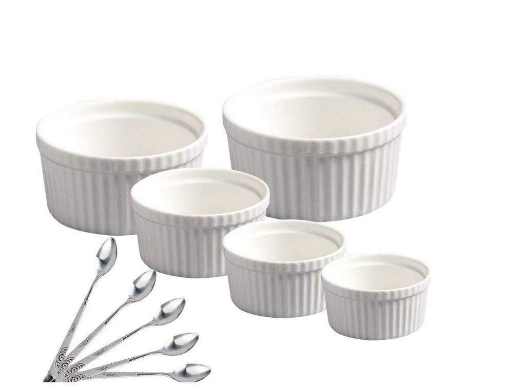 Leoyoubei White Ceramic Ramekin Bowl Set of 5 - Cake Baking Mold 5 Size Bowl Dishes Pudding Cup for Baking or Making Desserts And Stainless Steel Spoon 5 Pcs