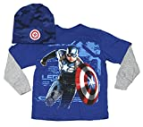 captain marvel hat - Marvel Big Boys Long Sleeve T-Shirt and Beanie Fashion Combo (8, Captain America)