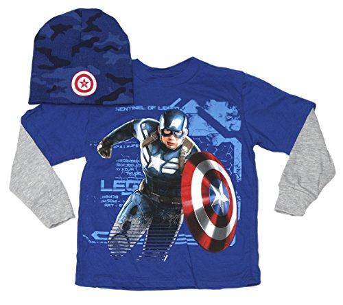 Marvel Big Boys Long Sleeve T-shirt and Beanie Fashion Combo (8, Captain America)
