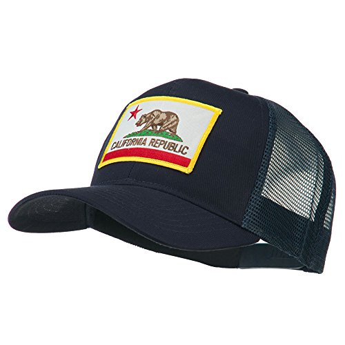 State Hat Cap (California State Flag Patched Twill Mesh Cap - Navy OSFM)