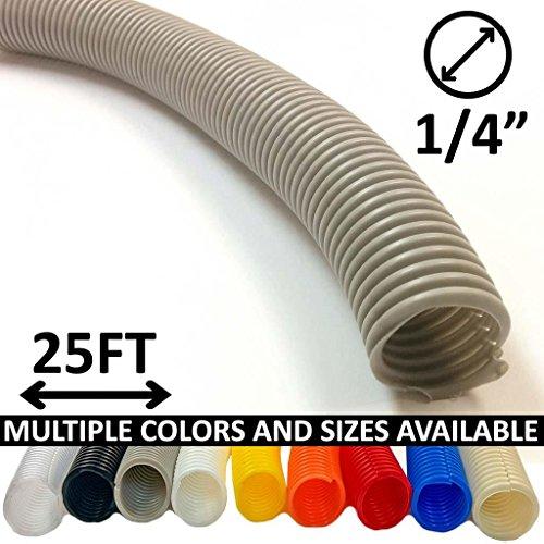 Electriduct 1/4 Split Wire Loom Tubing Polyethylene Flexible Conduit (0.25 Inch ID) - Gray - 25 Feet