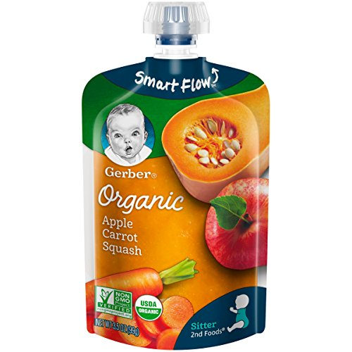 Gerber Organic 2nd Foods Pouches, Apples, Carrots, Squash, 3.5 Ounce, 12 count ()