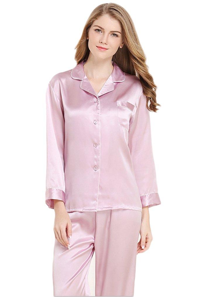 Women's Luxury Silk Pajamas Sets Homewear Beautiful Gifts Light Purple M