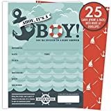 Health & Personal Care : It's A Boy Nautical Baby Shower Invitations with Tear-off Diaper Raffle Tickets. 25 5x7 Fill in the Blank Style Invites with White A7 Envelopes.