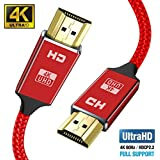 4K HDMI Cable 6ft (4K UHD HDMI 2.0 Ready) - Braided Cord - Ultra High Speed 18Gbps - Gold Plated Connectors - Ethernet & Audio Return - Video 4K 2160p HD 1080p 3D - Xbox PS3 PS4 PC TV-Red
