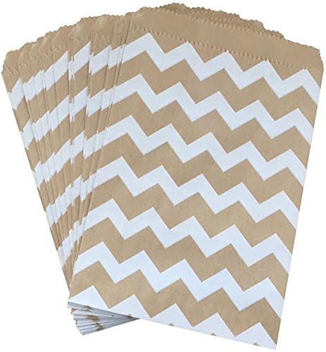 Outside the Box Papers Kraft Brown and White Chevron Treat Sacks 5.5 x 7.5 48 Pack Kraft Brown, White (Sacks Treat)