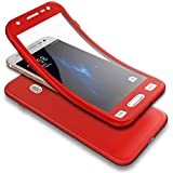 Appliances : PHEZEN Galaxy J7 2016 Case w/[Tempered Glass Screen Protector],Shockproof 360 Degree Full Body Protection Slim Fit Front and Back Matte TPU Silicone Case for Samsung Galaxy J7 2016, Red