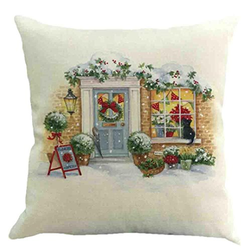 Challyhope Christmas Romatic Snow Scenery Print Waist Cushion Cover Throw Pillow Case Sofa Car Home Docor (45cm X 45cm, Multicolor E) (Scenery Christmas Drawings)
