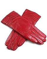 Ladies Womens Premium Quality Super Soft Genuine Leather Faux Fur Lined Gloves Overlap Detail Winter Warm